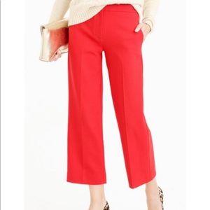 J. Crew Patio Pants Wool Blend Red Crop Gaucho 10